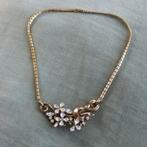 Trifari Gold and Crystal Costume Choker
